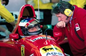 Schumacher-Barnard-Estoril-test-su-Ferrari-1995